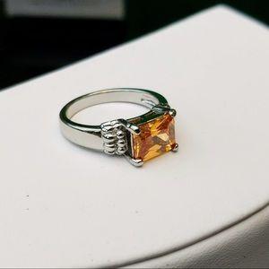 Beautiful Genuine Citrine Gemstone White Gold Ring